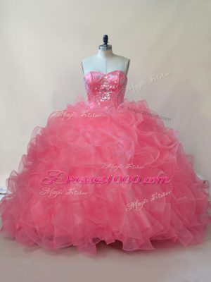 New Style Coral Red Sweetheart Lace Up Beading and Ruffles Sweet 16 Dress Sleeveless