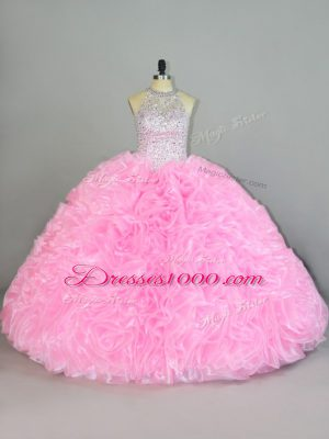 Gorgeous Floor Length Lace Up Quinceanera Dresses Baby Pink for Sweet 16 and Quinceanera with Beading and Ruffles