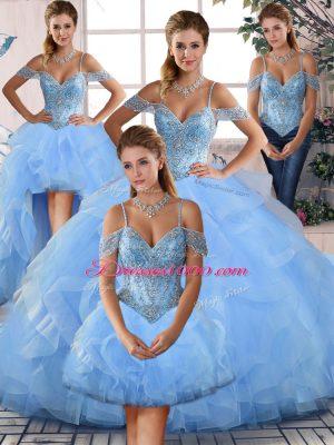 Blue Sweet 16 Dress Off The Shoulder Lace Up