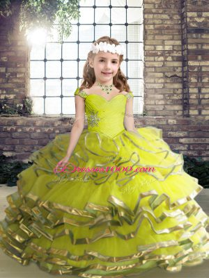 Beautiful Sleeveless Floor Length Beading and Ruffles Lace Up Pageant Dress for Teens with Yellow Green