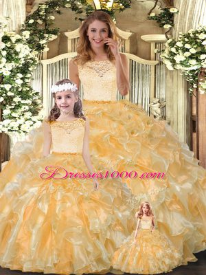 Gold Scoop Clasp Handle Lace and Ruffles Vestidos de Quinceanera Sleeveless