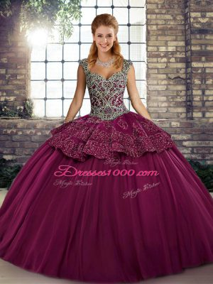 Edgy Fuchsia Straps Neckline Beading and Appliques Sweet 16 Quinceanera Dress Sleeveless Lace Up