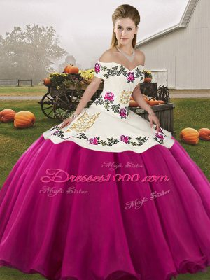 Fuchsia Ball Gowns Embroidery Quinceanera Gowns Lace Up Organza Sleeveless Floor Length