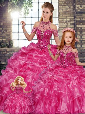New Arrival Halter Top Sleeveless Lace Up Sweet 16 Quinceanera Dress Fuchsia Organza