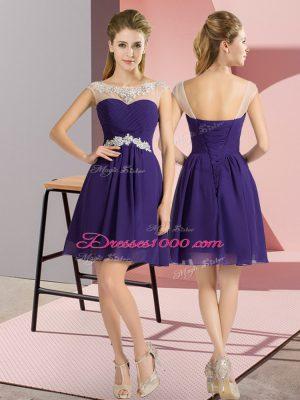 New Arrival Purple Empire Beading Bridesmaid Dress Lace Up Chiffon Cap Sleeves Mini Length
