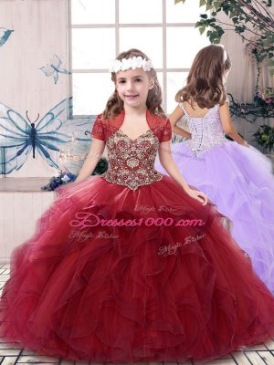 Red Kids Formal Wear Party and Sweet 16 and Wedding Party with Beading Straps Sleeveless Lace Up