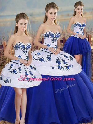 Delicate Embroidery and Bowknot Sweet 16 Quinceanera Dress Royal Blue Lace Up Sleeveless Floor Length