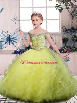 On Sale Yellow Green Tulle Side Zipper Kids Formal Wear Sleeveless Floor Length Beading