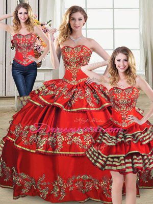 Fabulous Sleeveless Lace Up Floor Length Embroidery and Ruffled Layers Quinceanera Dress