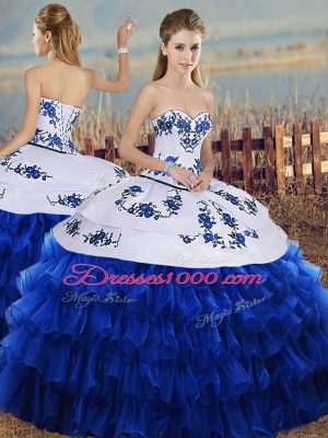 Stunning Sweetheart Sleeveless Vestidos de Quinceanera Floor Length Embroidery and Ruffled Layers Royal Blue Organza