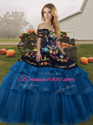 Blue And Black Tulle Lace Up Sweet 16 Dress Sleeveless Brush Train Embroidery and Ruffled Layers