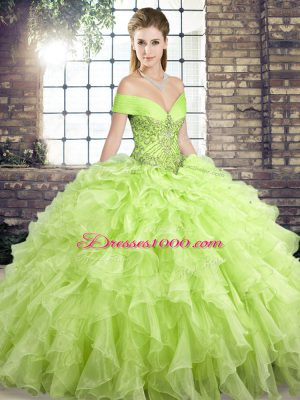 Elegant Yellow Green Sleeveless Brush Train Beading and Ruffles Quinceanera Gown
