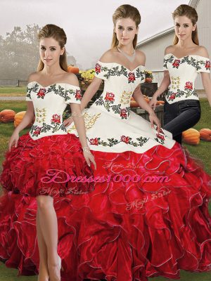 White And Red Lace Up Off The Shoulder Embroidery and Ruffles Quinceanera Gown Organza Sleeveless