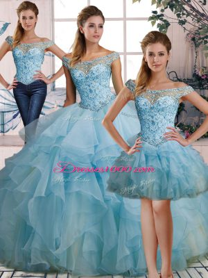 Romantic Off The Shoulder Sleeveless Quinceanera Dresses Floor Length Beading and Ruffles Light Blue Organza
