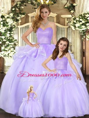 Lavender Sweetheart Neckline Beading Quinceanera Gowns Sleeveless Lace Up