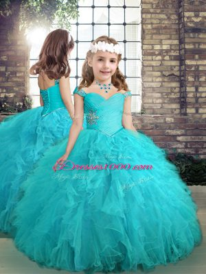 Aqua Blue Straps Neckline Beading and Ruffles Little Girls Pageant Gowns Sleeveless Lace Up
