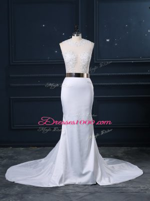 Exceptional White Zipper Wedding Gown Appliques and Sashes ribbons Sleeveless Brush Train
