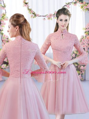 Admirable High-neck 3 4 Length Sleeve Zipper Bridesmaid Gown Pink Tulle