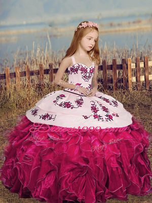 Floor Length Hot Pink Girls Pageant Dresses Straps Sleeveless Lace Up