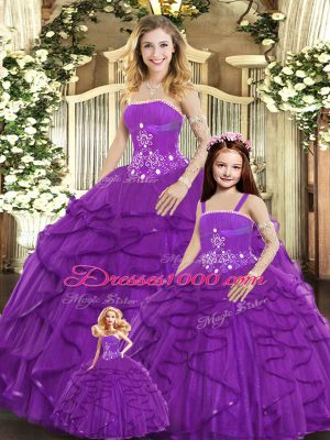 Floor Length Lace Up Quinceanera Gowns Purple for Sweet 16 and Quinceanera with Beading and Ruffles