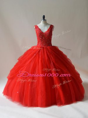 Fitting Red Tulle Zipper V-neck Sleeveless Floor Length Quinceanera Dress Beading