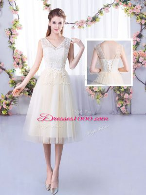 Adorable Champagne Empire Tulle V-neck Sleeveless Lace Tea Length Lace Up Damas Dress
