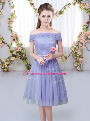 Fashion Lavender Tulle Lace Up Off The Shoulder Short Sleeves Knee Length Bridesmaids Dress Belt