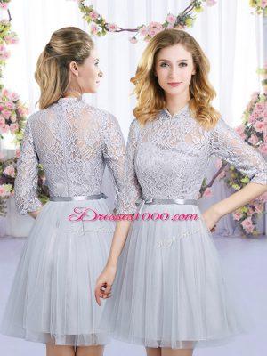 Modest Grey Empire Tulle High-neck Half Sleeves Lace and Belt Mini Length Zipper Vestidos de Damas