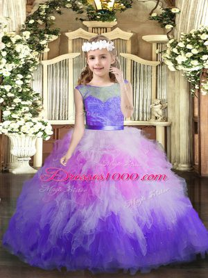 Multi-color Ball Gowns V-neck Sleeveless Tulle Floor Length Backless Lace and Ruffles Girls Pageant Dresses