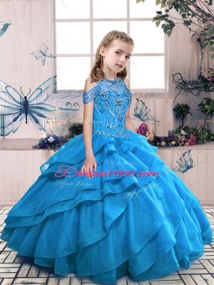 Ball Gowns Teens Party Dress Aqua Blue High-neck Organza Sleeveless Floor Length Lace Up