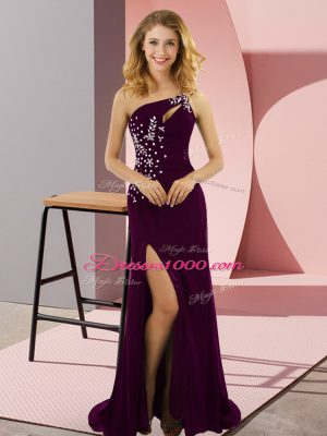 Dark Purple Column/Sheath Elastic Woven Satin One Shoulder Sleeveless Beading Lace Up Prom Dress Sweep Train