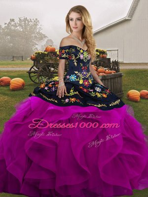 Floor Length Lace Up Quinceanera Gowns Black And Purple for Military Ball and Sweet 16 and Quinceanera with Embroidery and Ruffles