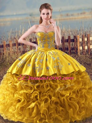 Wonderful Gold Ball Gowns Embroidery and Ruffles Vestidos de Quinceanera Lace Up Fabric With Rolling Flowers Sleeveless Floor Length