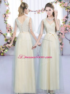 Graceful Champagne Sleeveless Floor Length Lace and Bowknot Lace Up Damas Dress
