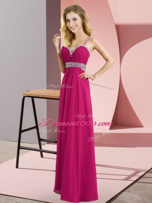 Superior Straps Sleeveless Dress for Prom Floor Length Beading Fuchsia Chiffon