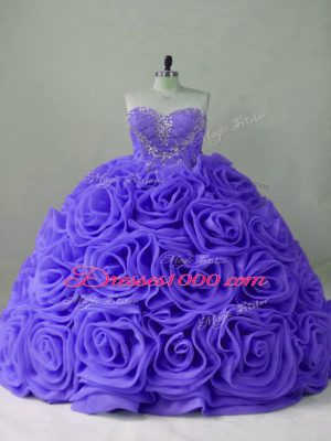 Lavender Sweet 16 Quinceanera Dress Sweet 16 and Quinceanera with Beading Sweetheart Sleeveless Brush Train Lace Up