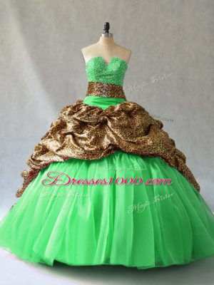 Low Price Ball Gowns V-neck Sleeveless Organza Lace Up Beading and Pick Ups Vestidos de Quinceanera