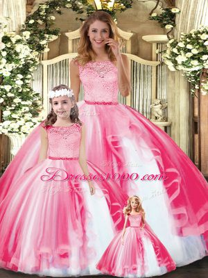 Fantastic Scoop Sleeveless Clasp Handle Sweet 16 Dresses Hot Pink Tulle
