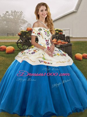 Extravagant Blue And White Sleeveless Embroidery Floor Length Quinceanera Dress