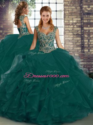 Fancy Sleeveless Lace Up Floor Length Beading and Ruffles Quince Ball Gowns