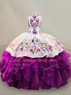 Custom Designed Floor Length Lace Up Quinceanera Dress Purple for Party and Sweet 16 and Quinceanera with Embroidery