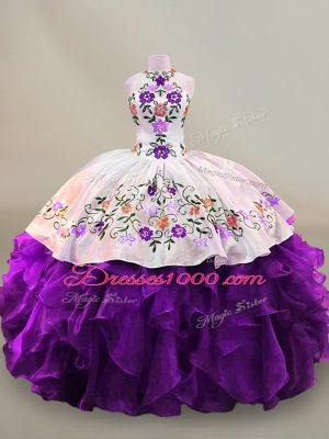Deluxe Floor Length White And Purple Sweet 16 Dress Organza Sleeveless Embroidery