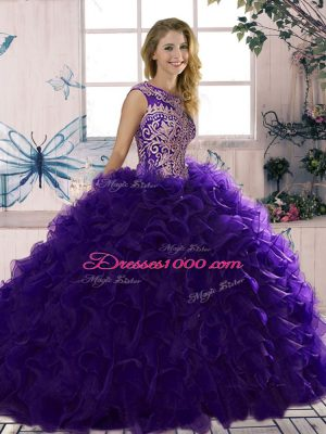 New Style Purple Sleeveless Beading and Ruffles Floor Length Quince Ball Gowns