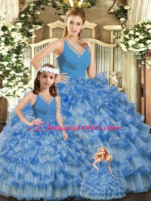 Extravagant Blue V-neck Neckline Ruffled Layers and Ruching Quince Ball Gowns Sleeveless Backless
