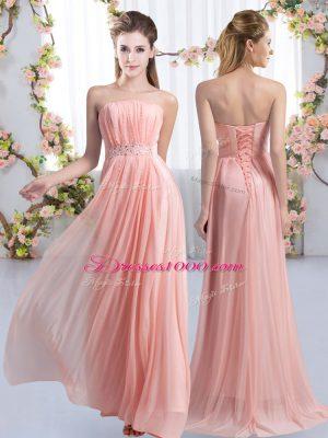 Spectacular Pink Damas Dress Chiffon Sweep Train Sleeveless Beading