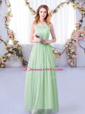 Fantastic Floor Length Side Zipper Bridesmaids Dress Apple Green for Wedding Party with Lace and Belt