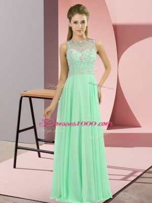 Cute Apple Green Sleeveless Chiffon Zipper Prom Dress for Prom and Party