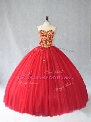 Sleeveless Tulle Brush Train Lace Up Sweet 16 Dresses in Red with Beading