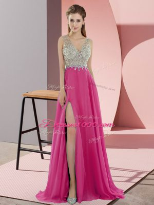 Zipper Homecoming Dress Hot Pink for Prom and Party with Beading Sweep Train
