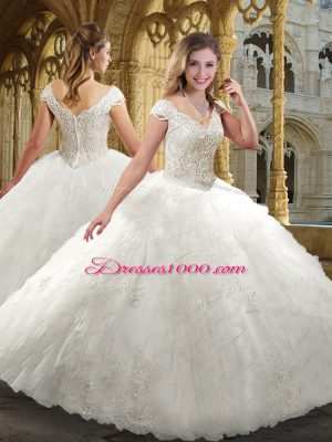 Stunning Floor Length White Bridal Gown Organza Cap Sleeves Beading and Ruffles